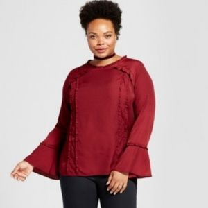 Plus 3X Top Ruffle Bell Sleeve Red Tunic Blouse